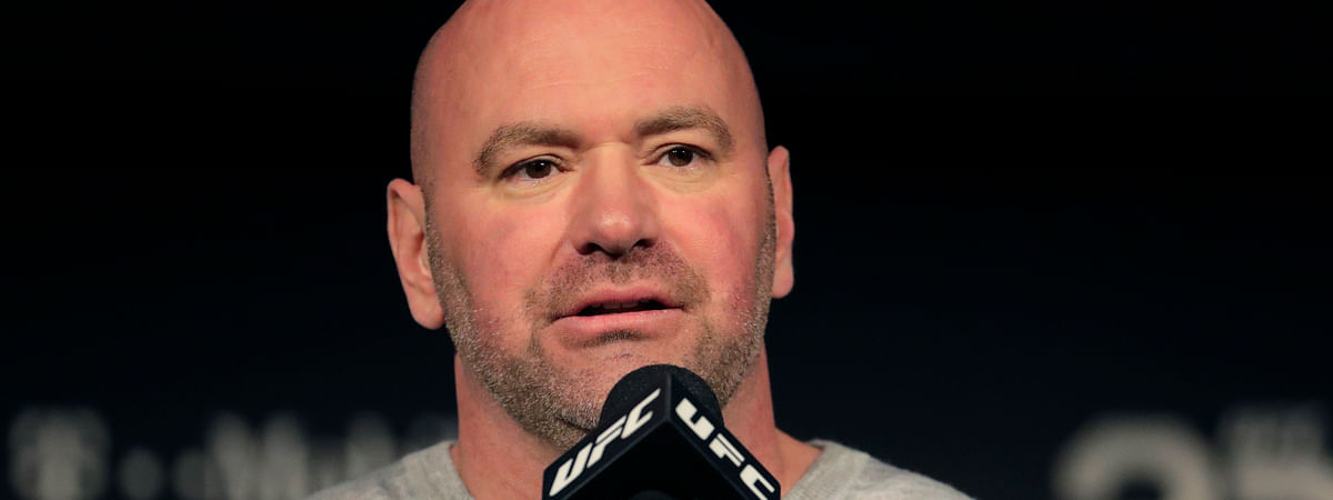 """In this Nov. 2, 2018, file photo, UFC president Dana White speaks at a press conference in New York. The UFC is returning to competition on May 9 with three shows in eight days in Jacksonville, Florida. Dana White also plans to hold shows on May 13 and May 16 at the same arena in Florida. Only """"essential personnel"""" will be in the arena, according to White."""