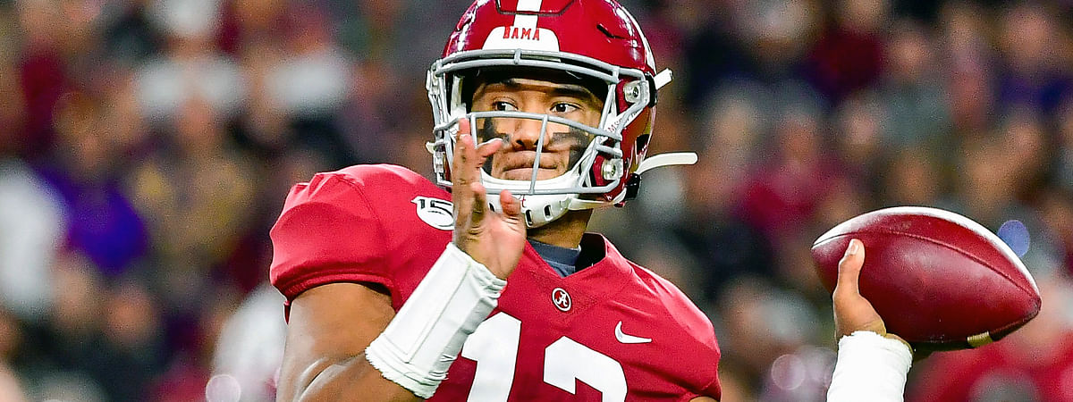 In this Nov. 9, 2019, file photo, Alabama quarterback Tua Tagovailoa plays in an NCAA football game in Tuscaloosa, Ala. Tagovailoa is a likely first round pick in the NFL Draft Thursday, April 23, 2020.