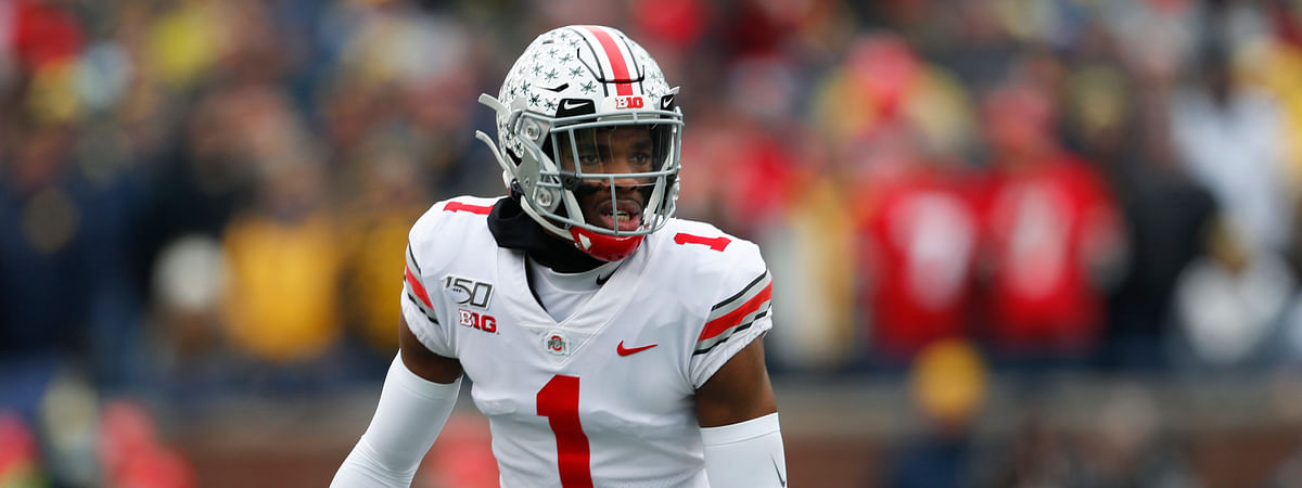 In this Nov. 30, 2019, file photo, Ohio State cornerback Jeff Okudah get ready for a Michigan play during an NCAA college football game in Ann Arbor, Mich. If the Detroit Lions choose to keep the No. 3 pick overall in the draft, Okudah is expected to be available for the taking.