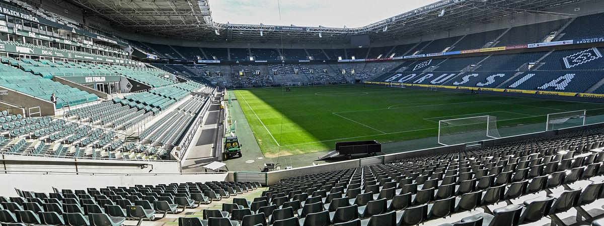 Empty seats are pictured at the stadium of German Bundesliga soccer club Borussia Moenchengladbach in Moenchengladbach, Germany, Thursday, April 16, 2020.