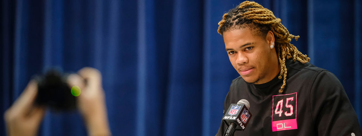 Ohio State defensive lineman Chase Young listens during a press conference at the NFL football scouting combine in Indianapolis, Thursday, Feb. 27, 2020.