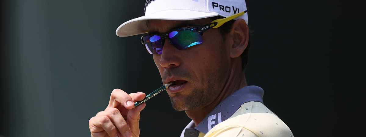 In this Feb. 23, 2020, file photo, Rafa Cabrera Bello of Spain gestures at the first green during the final round for the WGC-Mexico Championship golf tournament in Mexico City. Cabrera Bello has been staying in Florida since golf was shut down a month ago.