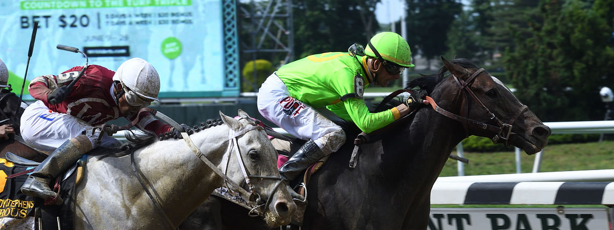 Hog Creek Hustle, winning the Woody Stephens last June at Belmont, runs today at Churchill Downs.