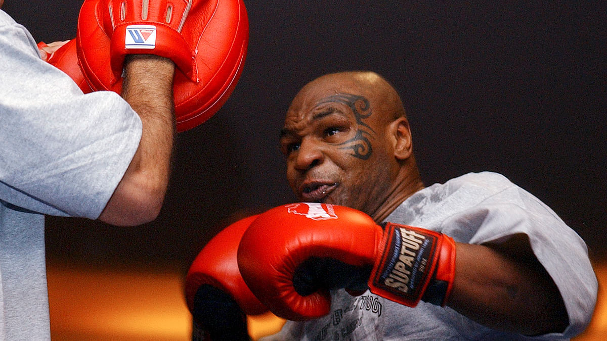Column: Still bad after all these years, Mike Tyson hits gym