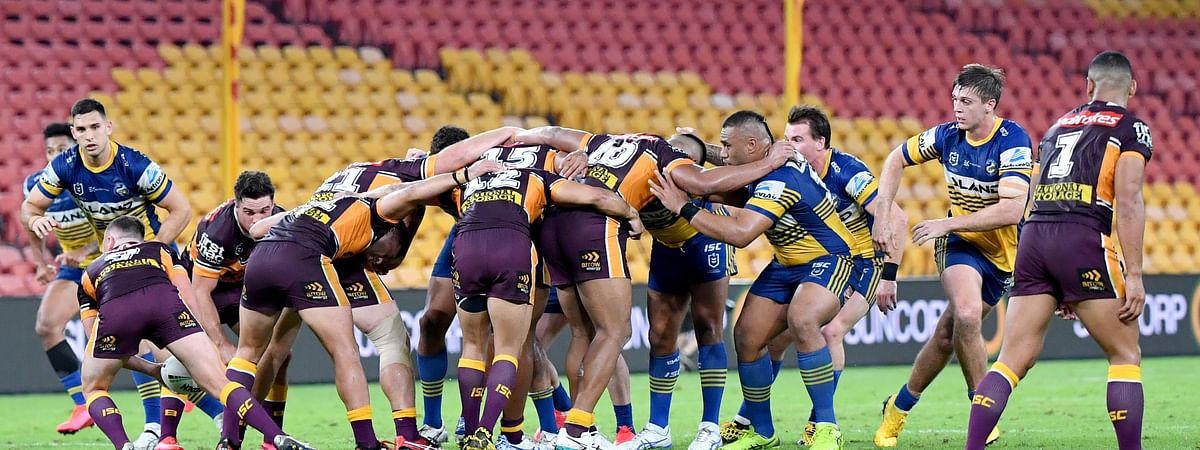 The Parramatta Eels and the Brisbane Broncos of the National Rugby League resumed play without spectators, Thursday, May 28, 2020, in Brisbane, Australia. (Darren England/AAP Image via AP)