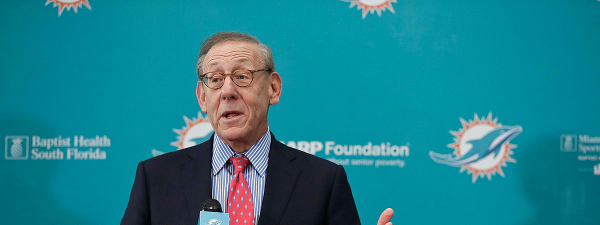 "In this Feb. 4, 2019, file photo, Miami Dolphin's owner Stephen Ross speaks during a news conference in Davie, Fla. Ross says he's confident the NFL will play in 2020, with or without spectators. ""I think there definitely will be a football season this year,"" Ross said Tuesday, May 26, 2020, during an interview on CNBC. ""The real question is will there be fans in the stadiums?"""