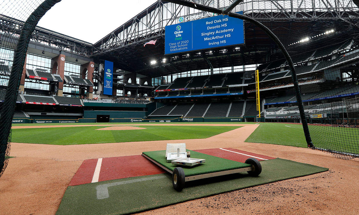 A home plate perspective gives a view of Globe Life Field, the newly-built home of the Texas Rangers, in Arlington, Texas, Wednesday, May 20, 2020. The park that was supposed to have its home opener on March 31 against the Los Angeles Angels has yet to see one game played in it this season amid the coronavirus pandemic.