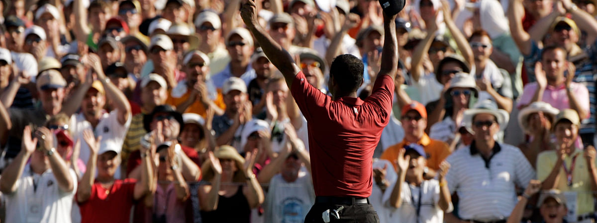In this Aug. 12, 2007, file photo, Tiger Woods celebrates after winning the 89th PGA Golf Championship at the Southern Hills Country Club in Tulsa, Okla. The next PGA Championship at Southern Hills will be in 2030.