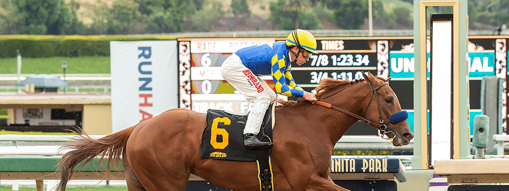 Charlatan, winning at Santa Anita, will be a heavy favorite in one division of the Arkansas Derby.
