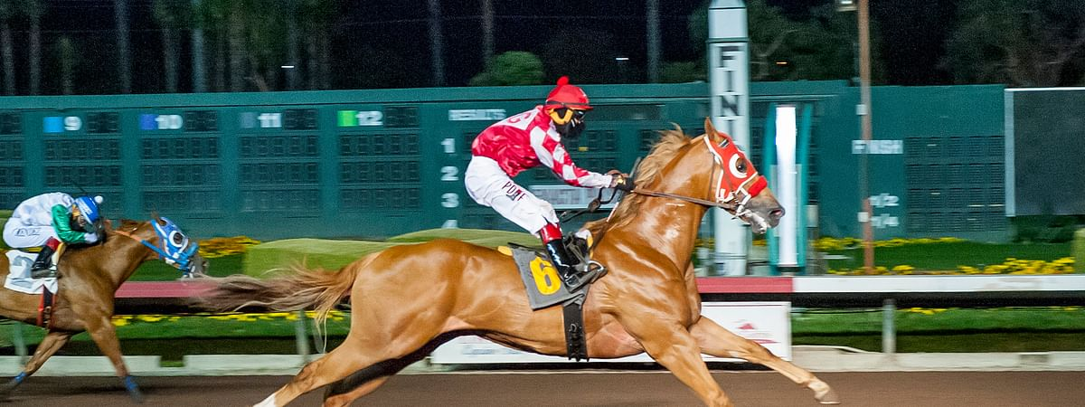 Up Is Up, ridden by Jesus Rios Ayala, racing at Los Alamitos Race Course