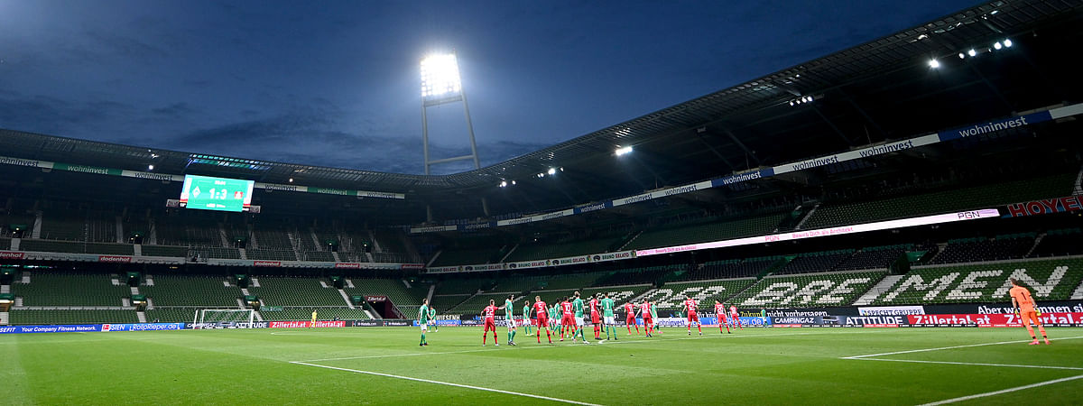 Overview during the German Bundesliga soccer match between Werder Bremen and Bayer Leverkusen 04 in Bremen, Germany, Monday, May 18, 2020.