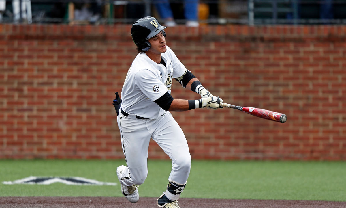 In this May 11, 2019, file photo, Vanderbilt's Austin Martin connects for a hit during an NCAA college baseball game against Missouri in Nashville, Tenn. Whether it's Arizona State slugger Spencer Torkelson or Vanderbilt's Austin Martin, Detroit has a chance to add another potential standout when it makes the No. 1 selection in Wednesday night's Major League Baseball draft.