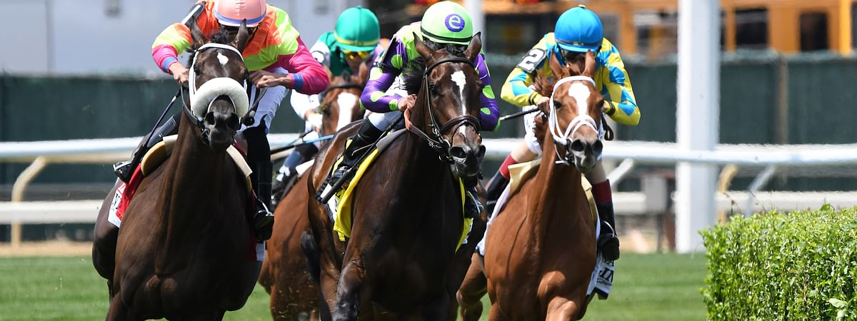 Rushing Fall turns for home to win the Just a Game Stakes last June at Belmont Park. Garrity's betting against her today.