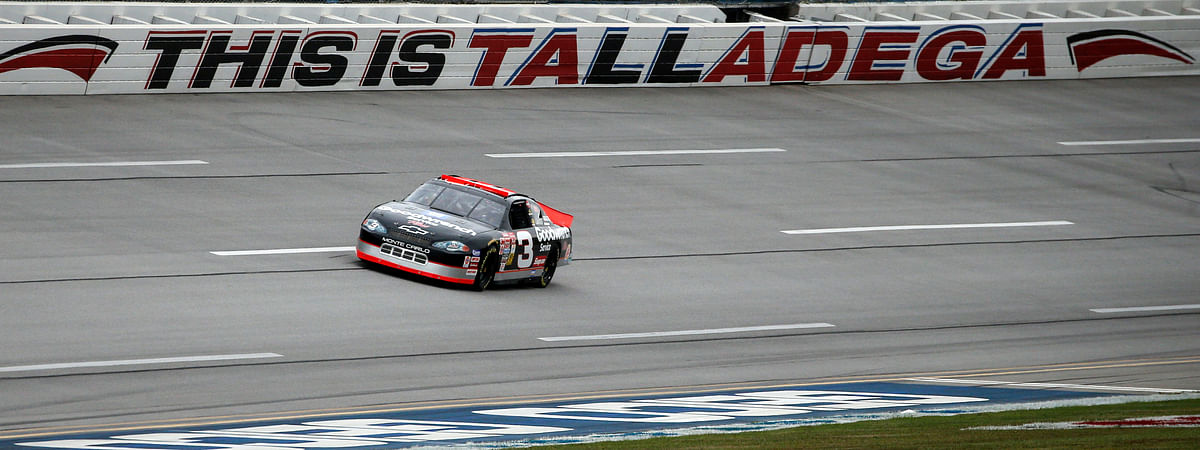 In this Oct. 13, 2019 file photo, the No. 3 car of the late NASCAR driver Dale Earnhardt Sr., driven by Richard Childress, takes a lap before a NASCAR Cup Series auto race at Talladega Superspeedway in Talladega, Ala. NASCAR's return to racing next shifts to Talladega Superspeedway in Alabama, with a new rules package altered after Ryan Newman's frightful crash in the season-opening Daytona 500.
