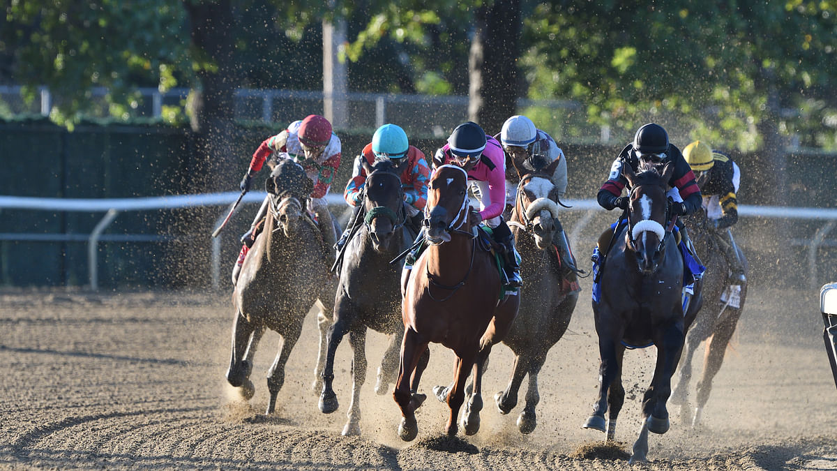 Tiz the Law, in front in the Champagne Stakes, is Garrity's pick today in the Breeders Cup Classic.