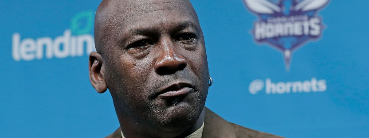 In this Feb. 12, 2019, file photo, Charlotte Hornets owner Michael Jordan speaks to the media about hosting the NBA All-Star basketball game during a news conference in Charlotte, N.C.
