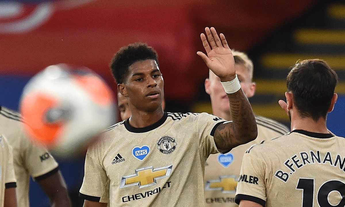 Manchester United's Marcus Rashford, center, celebrates after scoring the opening goal during the English Premier League soccer match between Crystal Palace and Manchester United at Selhurst Park in London, England, Thursday, July 16, 2020.