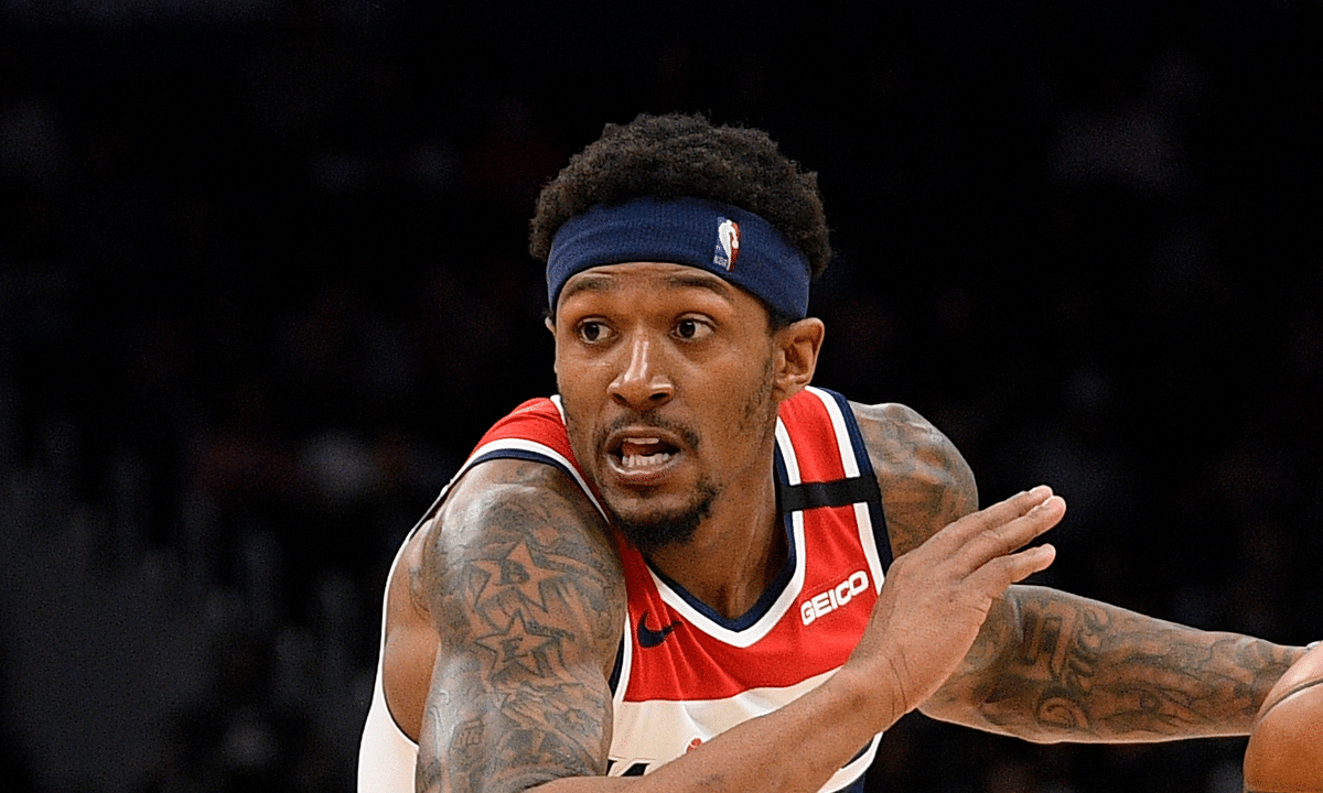 In this March 8, 2020, file photo, Washington Wizards guard Bradley Beal drives during an NBA basketball game against the Miami Heat in Washington. The Washington Wizards are expected to be one of the first teams to allow wagering from inside the venues where the team plays when fans return.