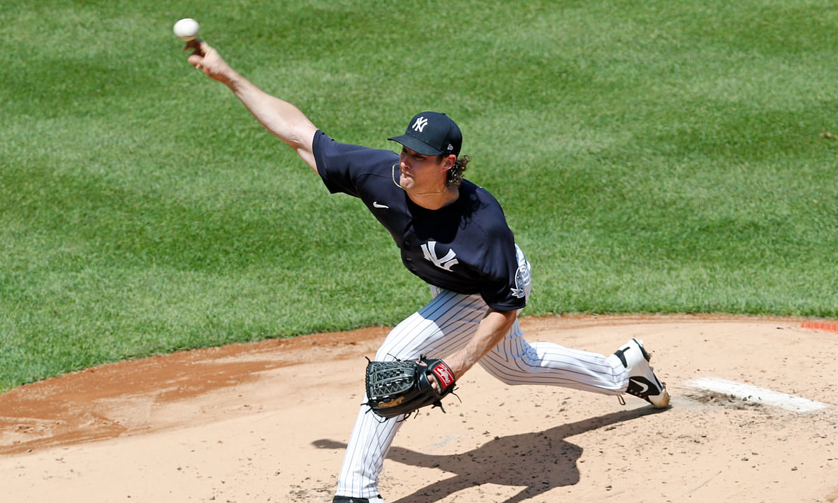 New York Yankees starting pitcher Gerrit Cole delivers during an intrasquad game in baseball summer training camp Sunday, July 12, 2020, at Yankee Stadium in New York. Cole is the favorite to win the Cy young, but Mark Eckel thinks there's better value elsewhere.