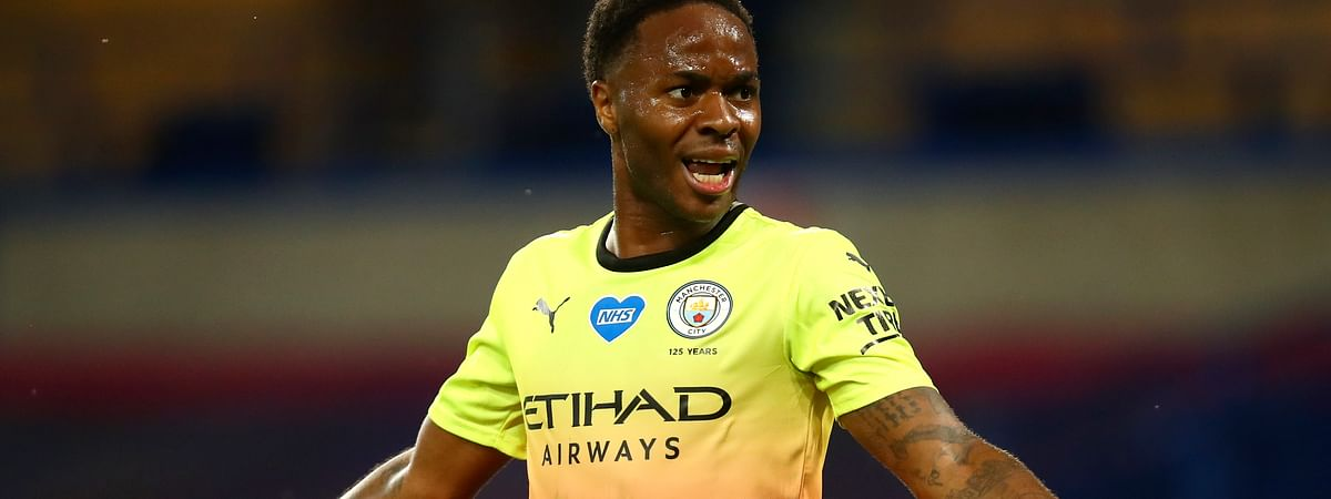 Manchester City's Raheem Sterling gestures during the English Premier League soccer match between Chelsea and Manchester City at Stamford Bridge, in London, England, Thursday, June 25, 2020.