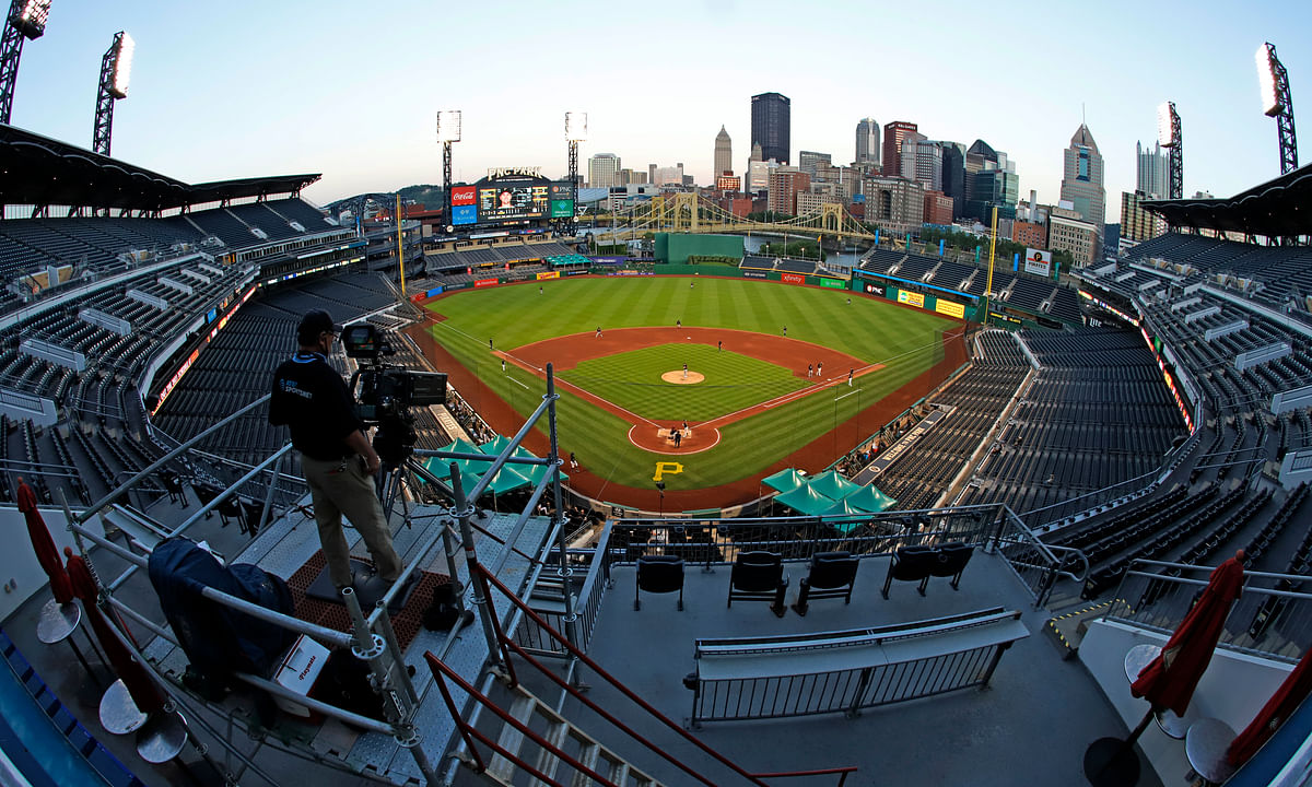 The Cleveland Indians and the Pittsburgh Pirates play an exhibition baseball game at PNC Park in Pittsburgh, Saturday, July 18, 2020.