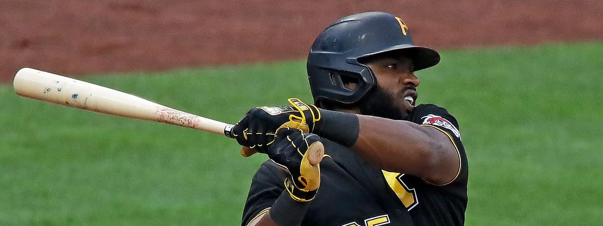 The Pirates will be getting their first licks in during Saturday's exhibition game without the services of Gregory Polanco (shown here in a July 13 instrasquad scrimmage), after he tested positive for COVID-19.