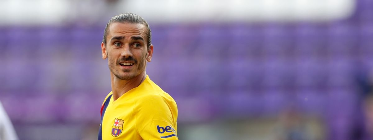 Barcelona's Antoine Griezmann during the Spanish La Liga soccer match between Valladolid and FC Barcelona at the Jose Zorrilla stadium in Valladolid, Spain, Saturday, July 11, 2020.