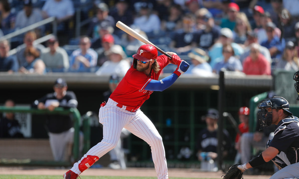 In this March 9, 2020, file photo, Philadelphia Phillies' Bryce Harper bats during a spring training baseball game in Clearwater, Fla.