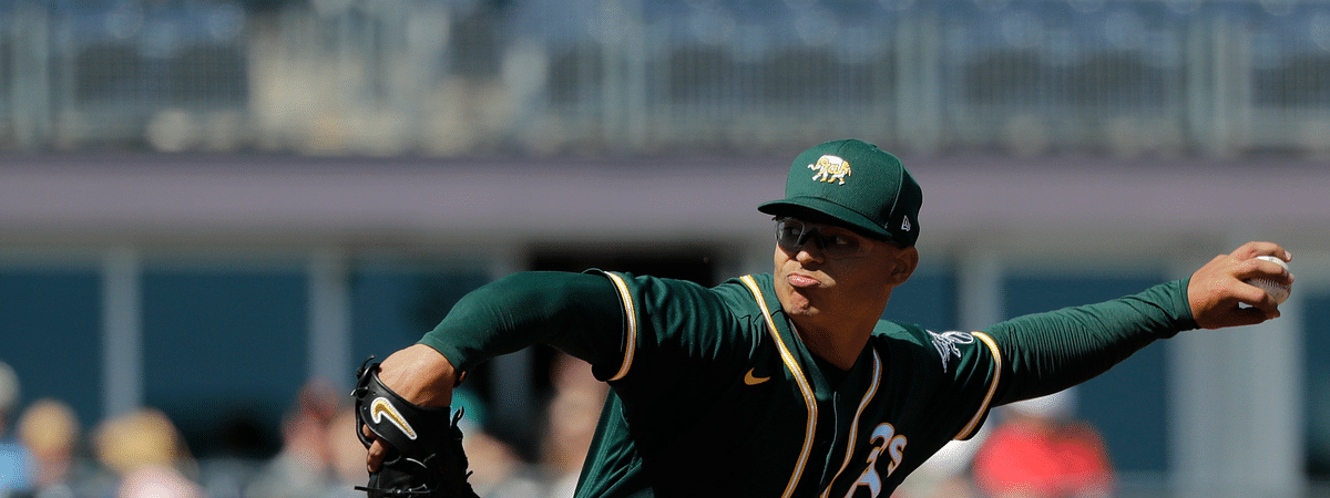 In this May 7, 2020, file photo, Oakland Athletics starting pitcher Jesus Luzardo throws against the Seattle Mariners during a spring training baseball game in Peoria, Arizona.