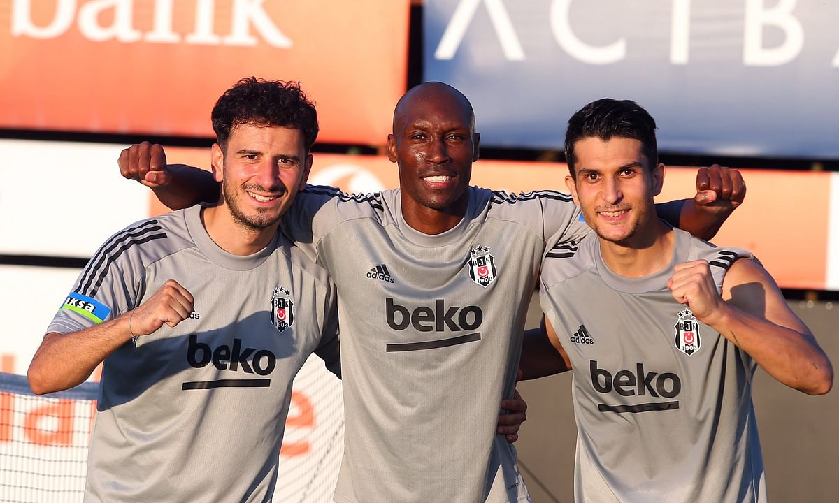 Besiktas training for their match with PAOK