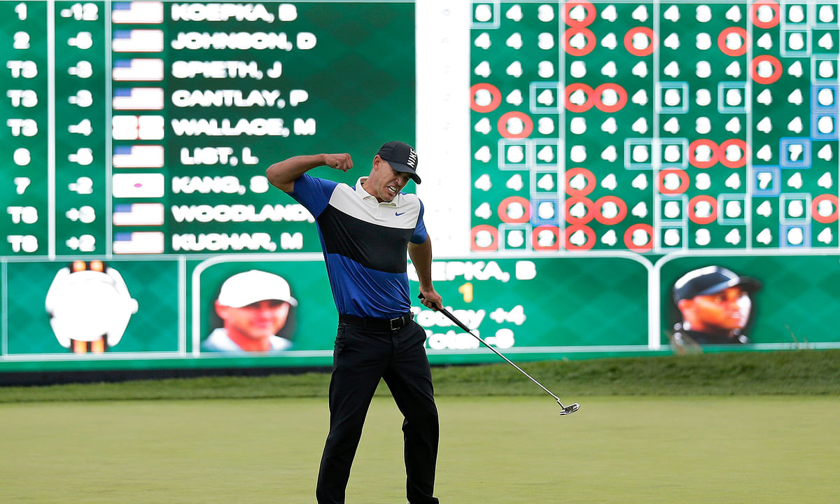 In this May 19, 2019, file photo, Brooks Koepka reacts after winning the PGA Championship golf tournament at Bethpage Black in Farmingdale, N.Y. Koepka goes for a third straight PGA Championship title this week in San Francisco.