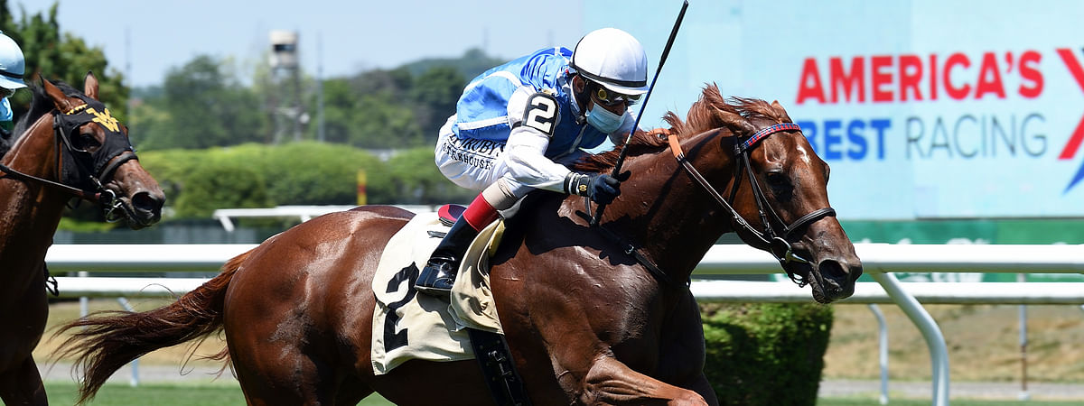 Alda, shown here racing at Belmont earlier this year, is Garrity's pick in the $100,000 Catch A Glimpse Stakes, the 7th race at Woodbine
