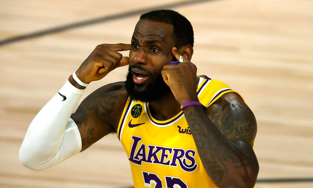 LeBron James of the Los Angeles Lakers reacts against the Oklahoma City Thunder during the second quarter during an NBA basketball game Wednesday, Aug. 5, 2020, in Lake Buena Vista, Fla.