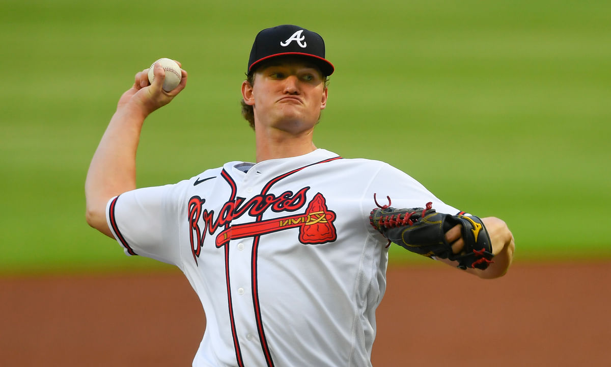 Atlanta Braves' Mike Soroka throws a pitch during the second inning of the baseball team's home-opener, against the Tampa Bay Rays on Wednesday, July 29, 2020 in Atlanta.