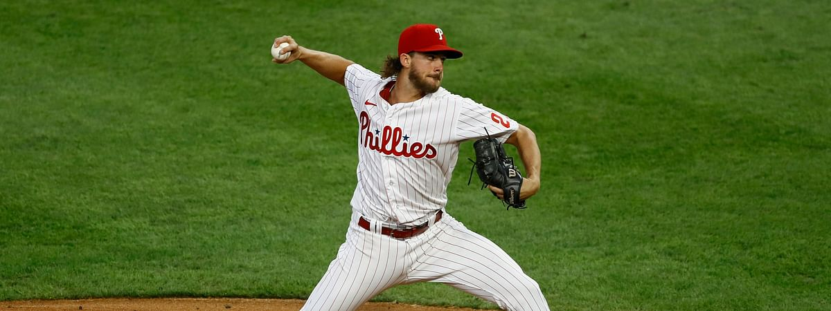 Aaron Nola deals in the first inning of his 12-strikeout start last Wednesday against the Yankees