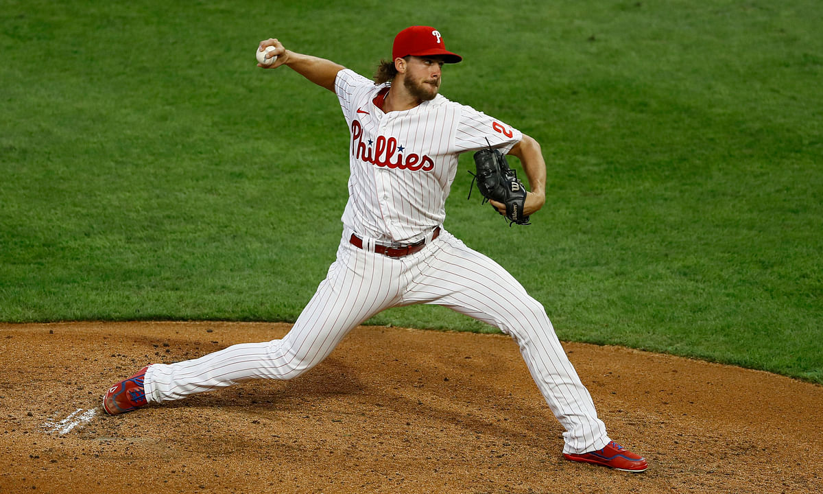 Aaron Nola deals in the first inning of his 12-strikeout start against the Yankees