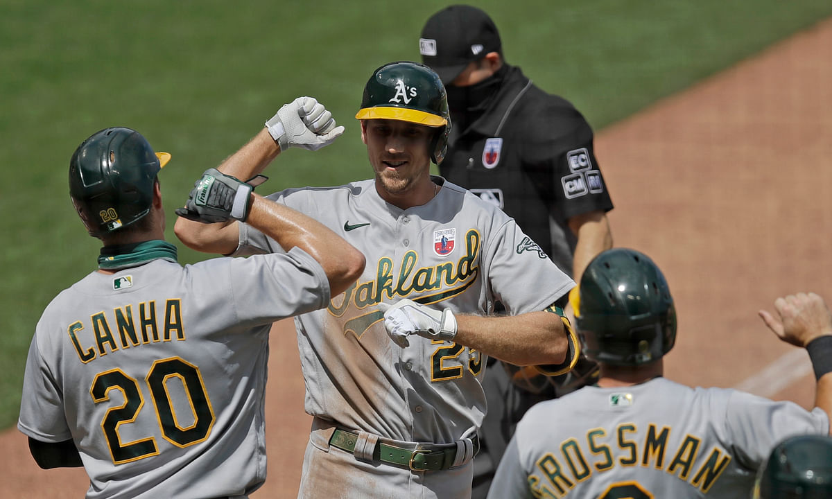 Oakland Athletics' Stephen Piscotty, center, celebrates with Mark Canha (20) and Robbie Grossman (8) after hitting a three-run home run off San Francisco Giants' Dereck Rodriguez in the fifth inning of a baseball game Sunday, Aug. 16, 2020, in San Francisco.