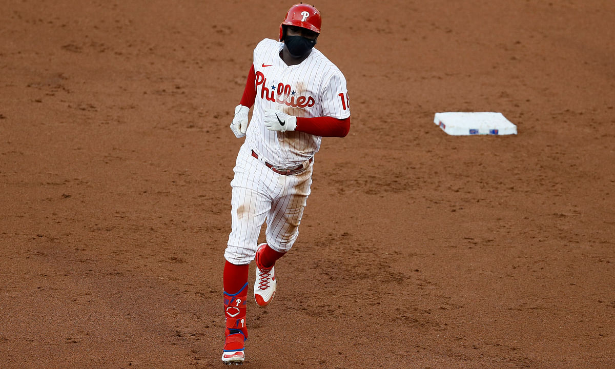Phillies' Didi Gregorius rounds the bases after homering Monday night