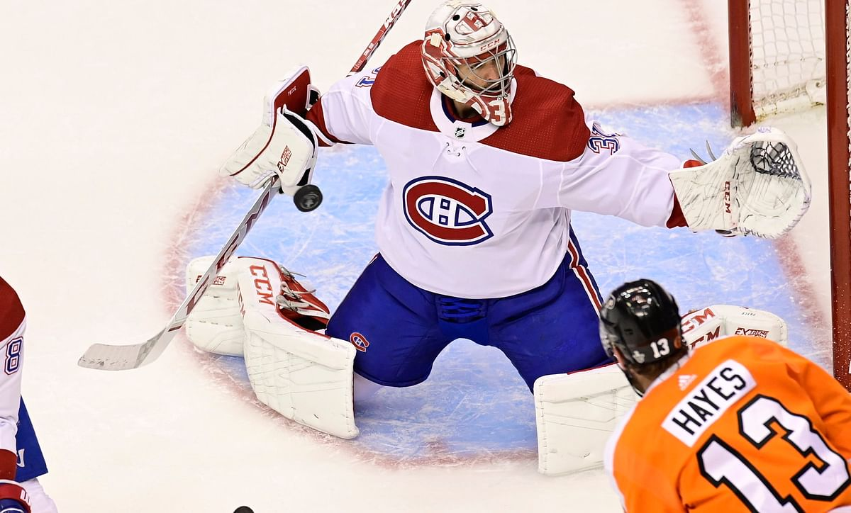 Montreal's Carey Price stops Kevin Hayes in Game 2 on Aug. 14, one week before Hayes became the first of The Philly Five to score