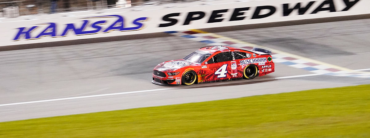 Kevin Harvick drives during a NASCAR Cup Series auto race at Kansas Speedway in Kansas City, Kan., Thursday, July 23, 2020.