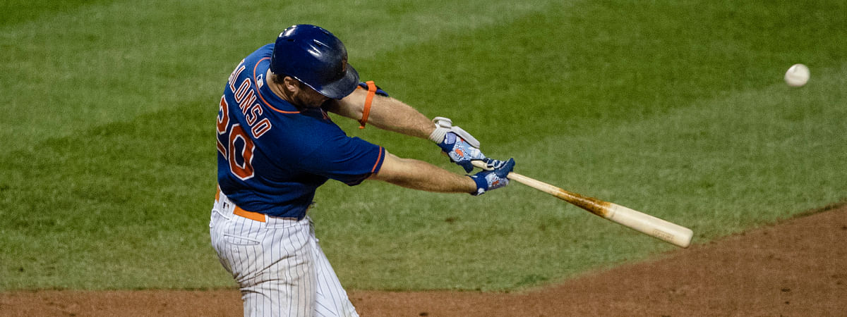 New York Mets' Pete Alonso (20) hits a two-run home run during the sixth inning of a baseball game against the Washington Nationals Wednesday, Aug. 12, 2020, in New York.
