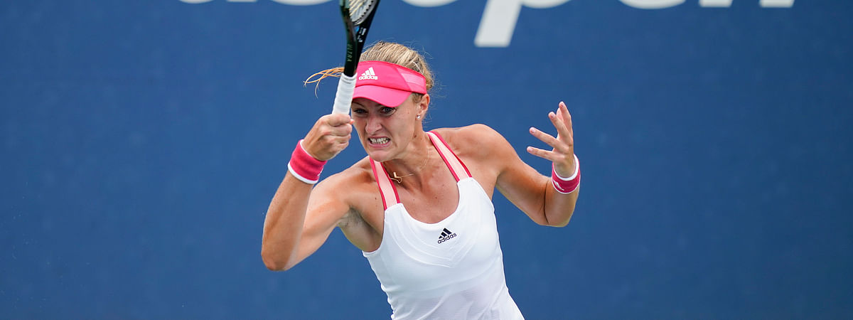Kristina Mladenovic, of France, returns a shot to Varvara Gracheva, of Russia, during the second round of the US Open tennis championships, Wednesday, Sept. 2, 2020, in New York.