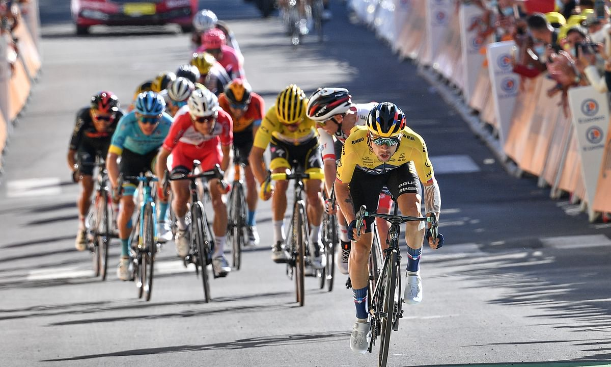 Slovenia's Primoz Roglic leads on his way to win the fourth stage of the Tour de France cycling race over 160,5 kilometers (99,7 miles) with start in Sisteron and finish in Orcieres-Merlette, southern France, Tuesday, Sept.1, 2020.