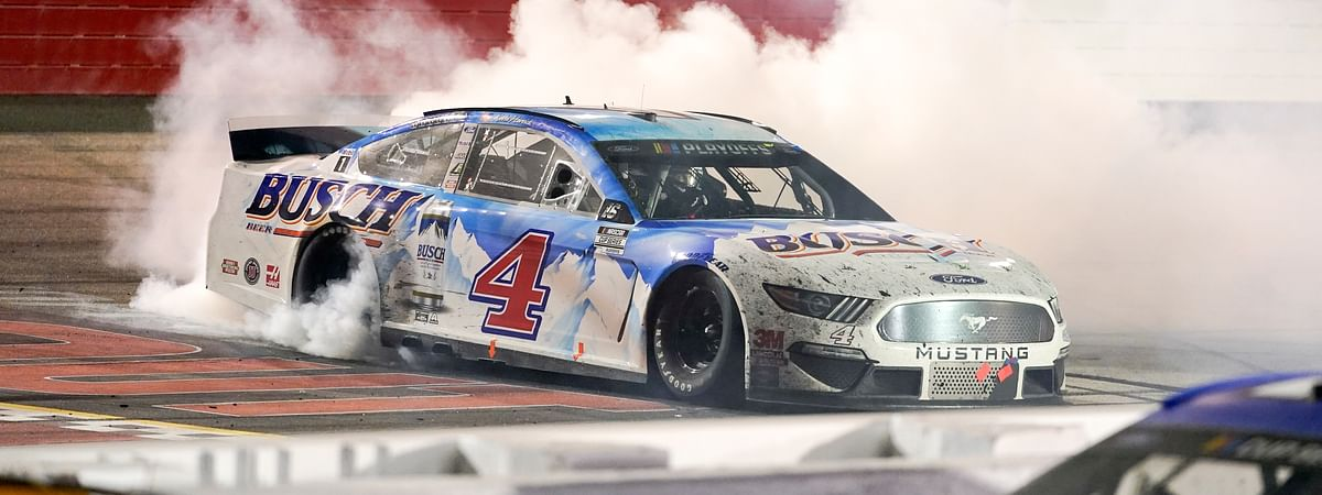 Kevin Harvick (4) celebrates a win at the NASCAR Cup Series auto race, Sunday, Sept. 6, 2020, in Darlington, S.C.