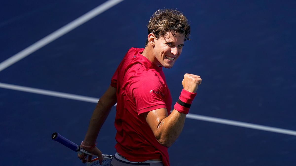 Dominic Thiem, of Austria, reacts during a match against Jaume Munar, of Spain, during the first round of the US Open tennis championships, Tuesday, Sept. 1, 2020, in New York.