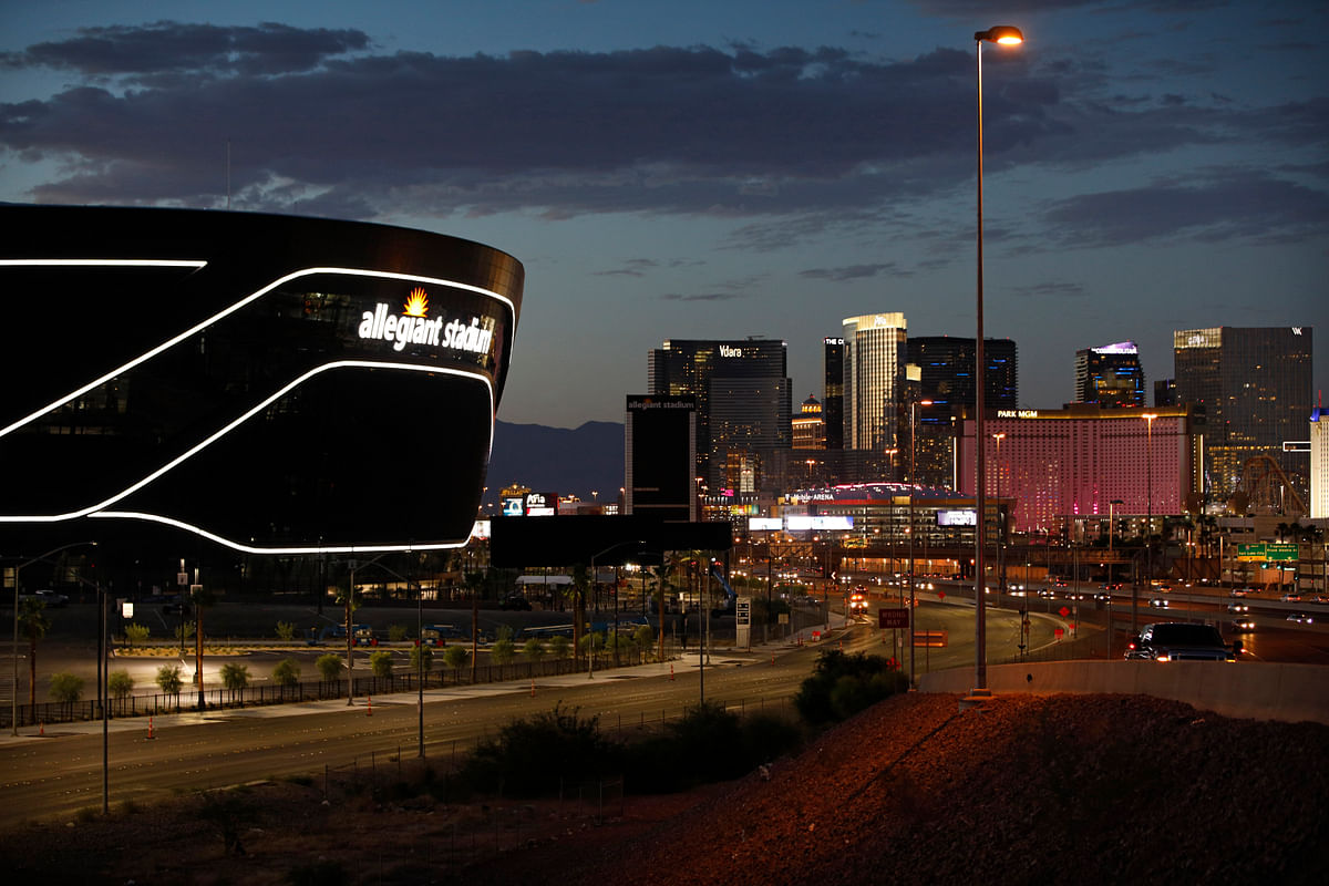 Lights adorn Allegiant Stadium, new home of the Las Vegas Raiders football team, as it nears completion Wednesday, July 22, 2020, in Las Vegas. The stadium will also serve as the home for the UNLV football team.