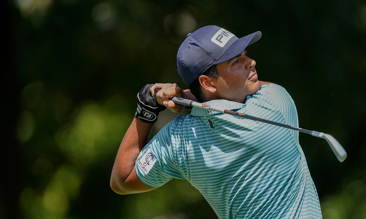 Sebastian Munoz tees off on the first hole during the second round of the Tour Championship golf tournament at East Lake Golf Club in Atlanta, Saturday, Sept. 5, 2020.