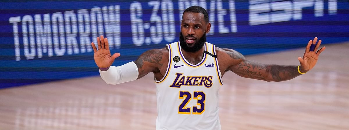 Los Angeles Lakers' LeBron James (23) reacts during the second half of an NBA conference semifinal playoff basketball game against the Houston Rockets Tuesday, Sept. 8, 2020, in Lake Buena Vista, Fla. The Lakers won 112-102.