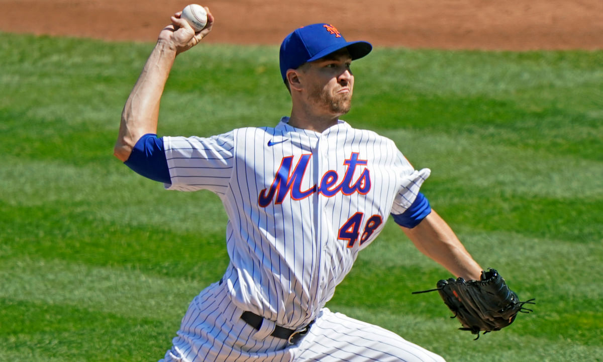 New York Mets starting pitcher Jacob deGrom winds up during the second inning of a baseball game against the Philadelphia Phillies, Sunday, Sept. 6, 2020, in New York.