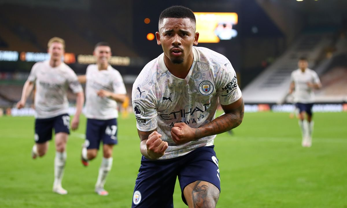 Manchester City's Gabriel Jesus celebrates after scoring his team's third goal during the English Premier League soccer match between Wolverhampton Wanderers and Manchester City at Molineux Stadium in Wolverhampton, England, Monday, Sept. 21, 2020. Brazil called up Gabriel Jesus for two World Cup qualifying matches in November.